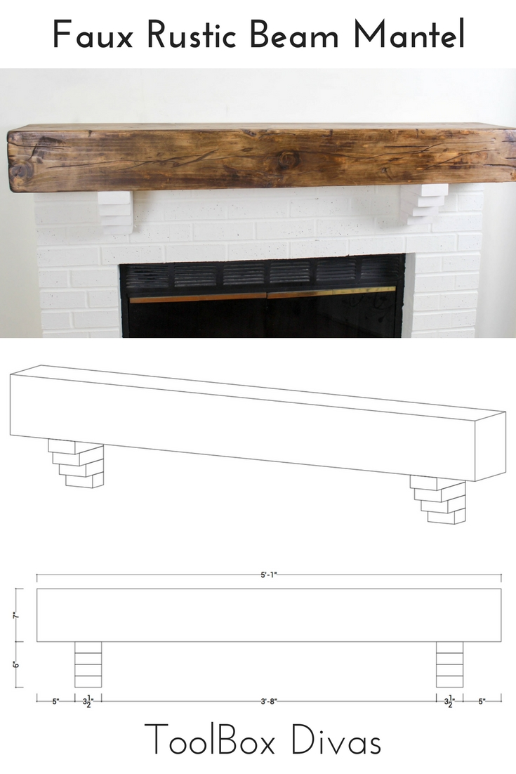 Faux Wood Beam Fireplace Mantels Uk How To Build A Rustic Faux Beam Mantel Toolbox Divas