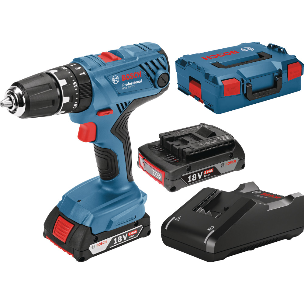 Actie Accuboormachine Bosch Blauw Gsb 18v 21 Professional Accuklopboorschroevendraaier 2 0ah Li Ion In L Boxx Toolmax