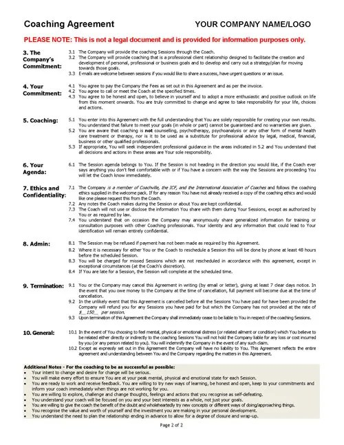 Coaching Agreement Contract TEMPLATE (Sample) Coaching Tools from