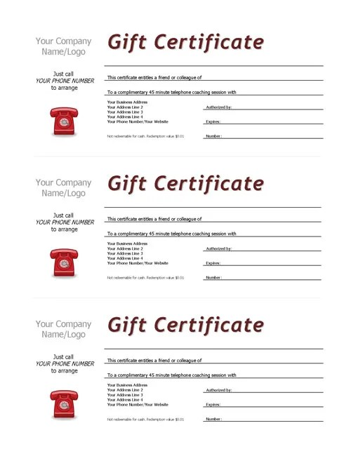 Complimentary Session Vouchers TEMPLATE Coaching Tools from The - gift certificate template pages