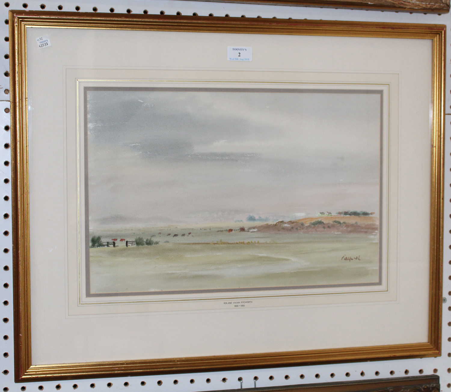 Poort Frame Roland Vivian Pitchforth Landscape With Meadows And Hills 20th