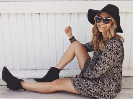 styled with a dress and booties