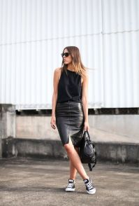 leather pencil skirt with black converse and tote chain bag