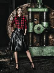 PLAID SHIRT AND LEATHER SKIRT