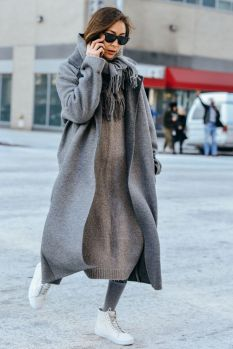 grey coat and long sweater