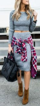 fall-fashion-gray-knit-skirt-tartan-shirt