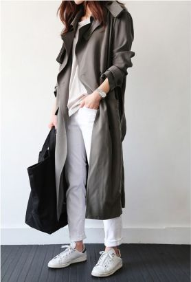 trench coat with white sneakers