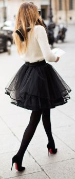 black tulle with sweater