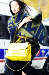 blanket coat paired with neon