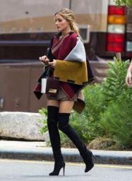 blanket coat with olivia palermo...over the knee boots