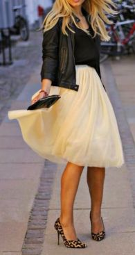 tulle with leather jacket