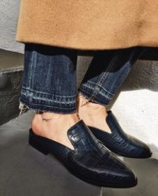 frayed denim with backless loafers