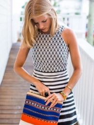 navy and white geometric dress
