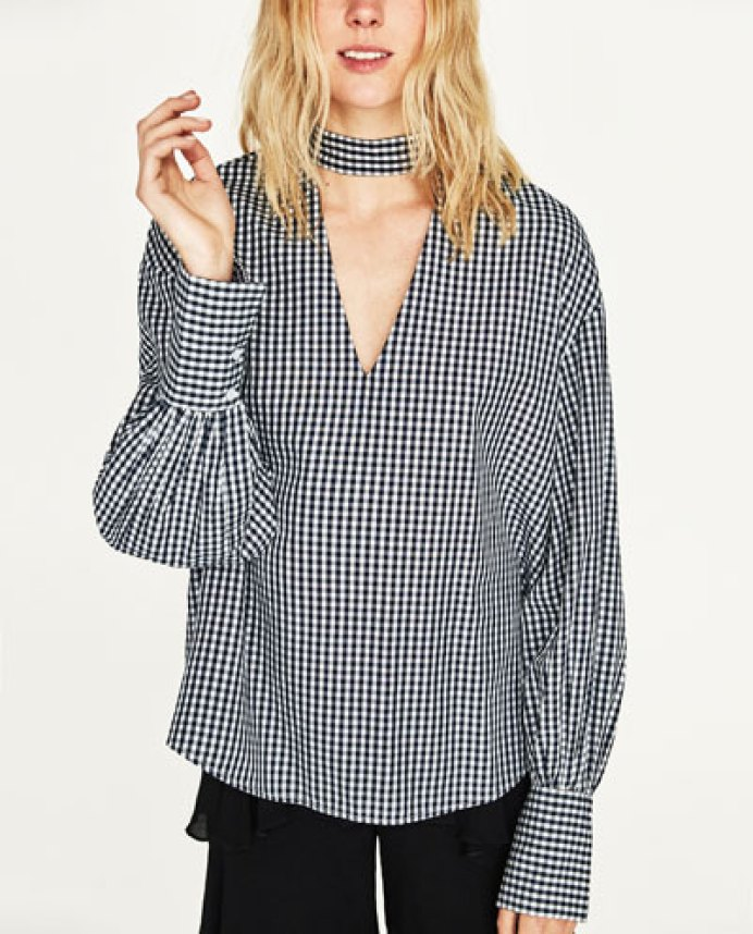 choker gingham shirt