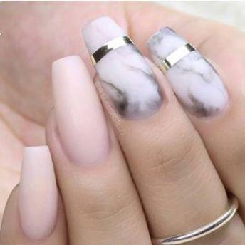 pink shades and marble nails