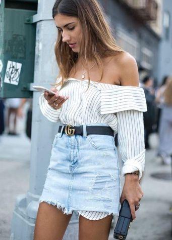 denim skirt and striped shirt