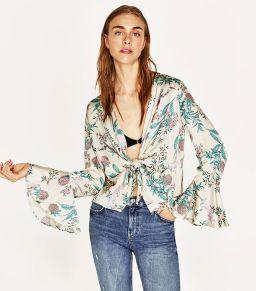 floral print blouse zara