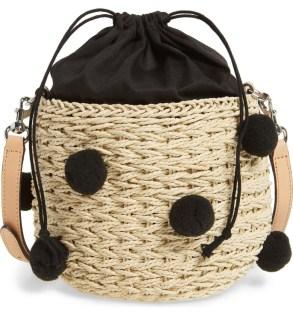 straw pom pom bucket bag