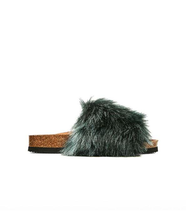 zara flat furry sandals