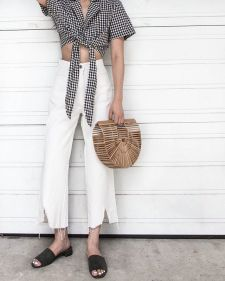 straw bag and checkers