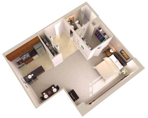 Medium Of Efficiency Apartment Floor Plan