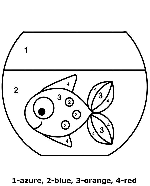Gold fish color by number easy worksheet for children