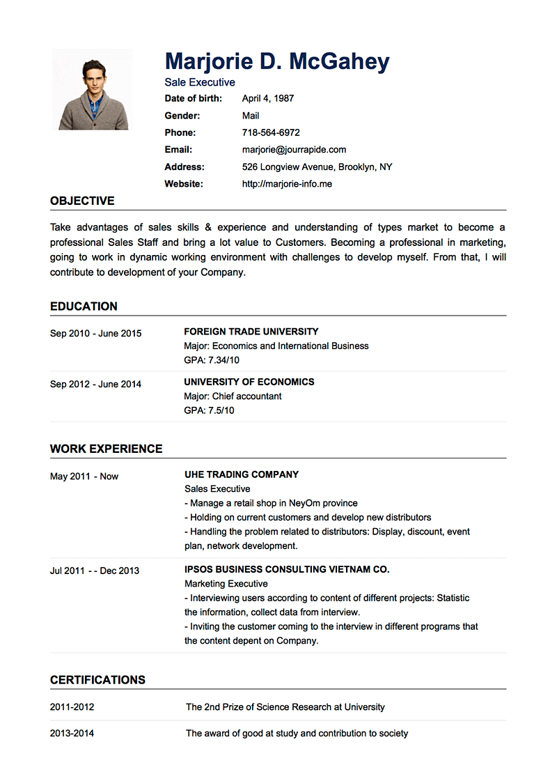 Examples Of A Resume Professional Resume Cv Templates With Examples Topcv Me