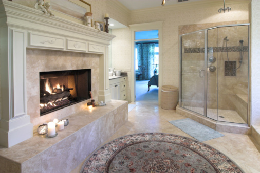 Travertine Fireplace 16 Luxury Bathrooms With Fireplaces