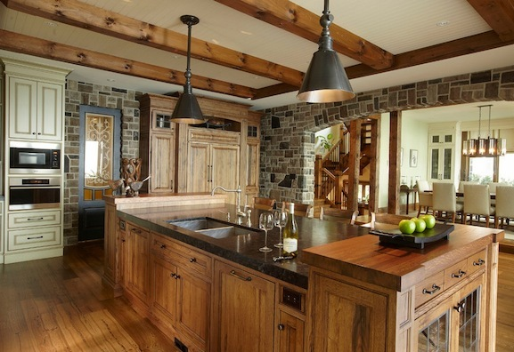 Kitchen Island With Ceiling Posts 16 Beautiful Rustic Kitchen Designs