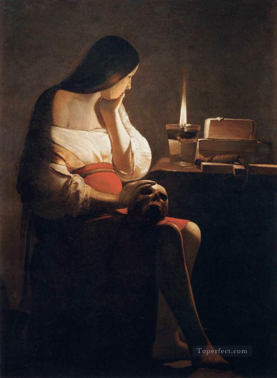 Candle Light Painting Magdalen Of Night Light Candlelight Georges De La Tour Painting In