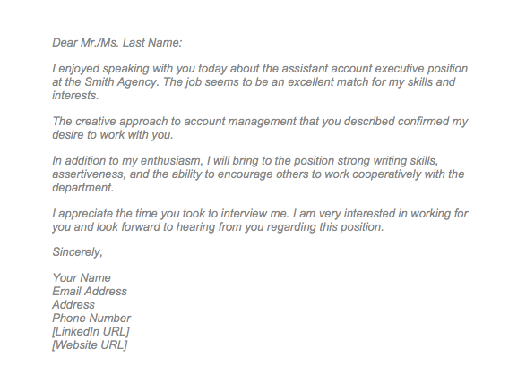 Sample Thank You Letter After Interview Via Email Top