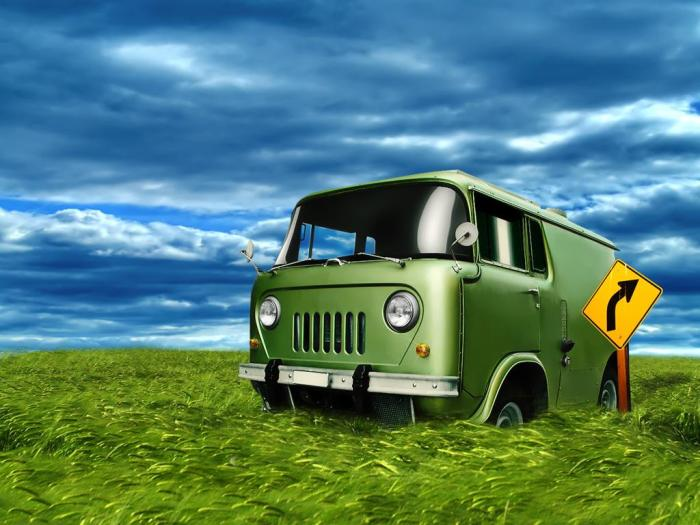 3D Wallpaper-Green Bus in Green Grass under the Blue Sky