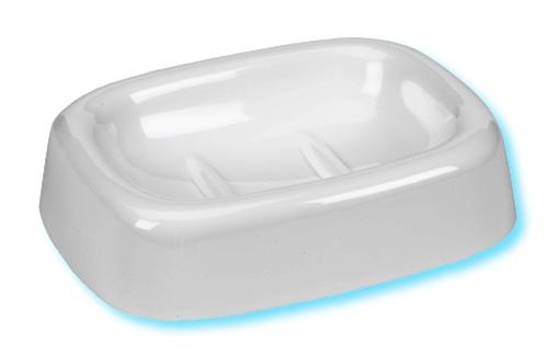 Shower Rod Plastic Oval Soap Dish. Available In White, Ivory Or Black.
