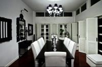 Formal-Black-and-White-Dining-Room-Set-with-Reddish-Brown ...