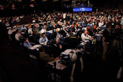 A general view of war room tables during the 2010 NFL Draft at Radio City Music Hall in New York City, NY on Apr. 23, 2010. (Ben Liebenberg/NFL.com)