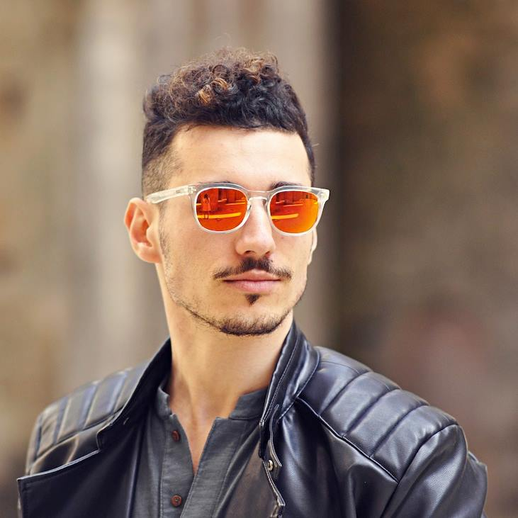Round Mirror With Black Frame Orange Mirror Sunglasses Topsunglasses