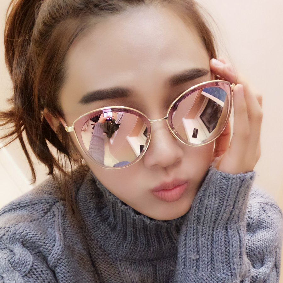 Oval Mirror Long Rose Gold Mirrored Sunglasses Topsunglasses