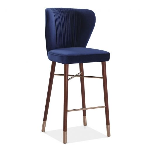 Braune Lederstühle Cult Living Noa Luxury Bar Stool With Backrest, Velvet ...