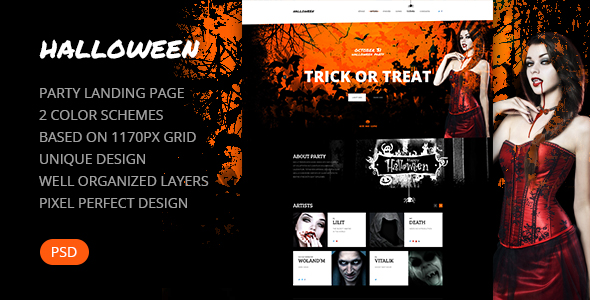 Halloween \u2014 Party Landing Page PSD Template - Creative - All