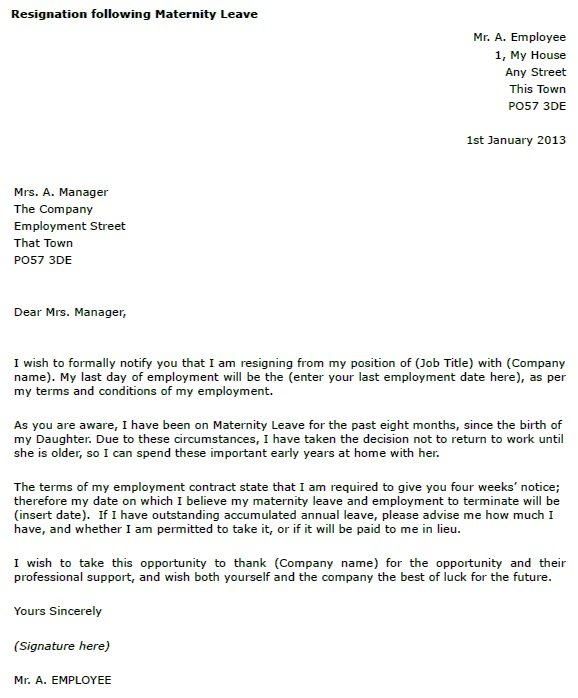 Maternity Leave Resignation Letter Example - toresign