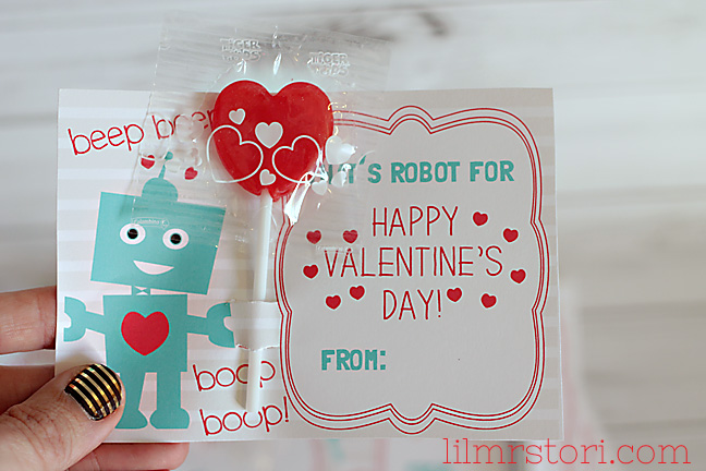 Robot Valentine's Day Cards Free Printable