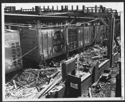 The rail cars and other equipment at the Santa Fe Railway shops, near S.E. 4th and Branner, were damaged by the tornado.