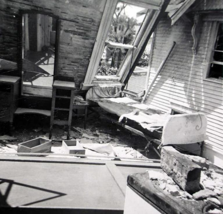 The bedroom of Marva Ollenberger's apartment was ransacked by the tornado.