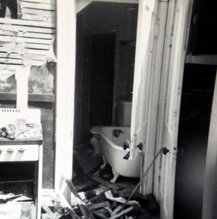 The kitchen and bathroom of Marva Ollenberger's apartment were heavily damaged.