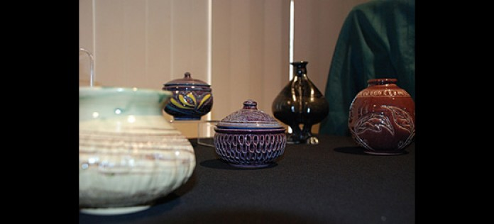 Ceramics by exhibit organizer Bok Yun Kim.