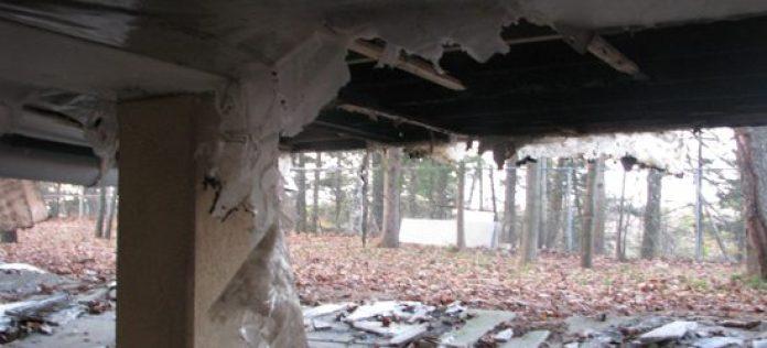 A view of the damage underneath the Maha Vihara Buddhist Meditation Centre's porch.