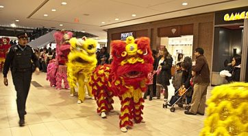 Row of Chinese dragons going through the mall