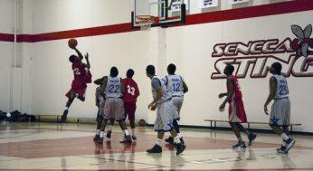 West Hill player Brandon Burke #32, takes a shot.