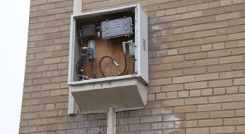 A broken electrical box at 205 Morningside Ave.