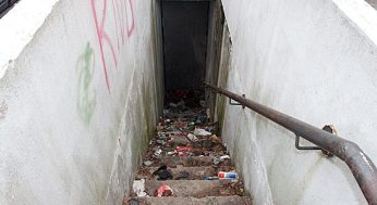 Stairwell in poor condition at 217 Morningside Ave., just south of Kingston Road.